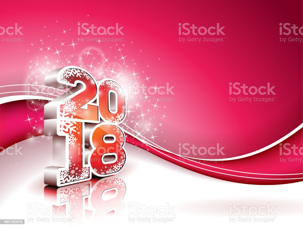 vector happy new year 2018 illustration on shiny red background with 3d number holiday design