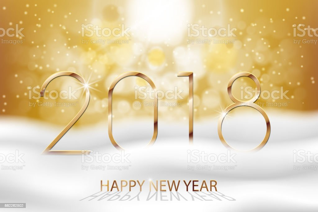 Vector Happy New Year 2018 New Year Colorful Winter Background With ...