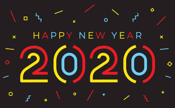 vector happy new year 2020 background with retro geometric colorful text and explosion of geometric shapes. for seasonal holiday web banners, flyers and festive posters - new years day stock illustrations