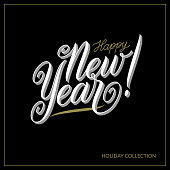 Vector Happy New Year background and text. Vintage label and calligraphic design element for holiday festive greeting card design template, posters, gift and decoration. Vector illustration. EPS 10