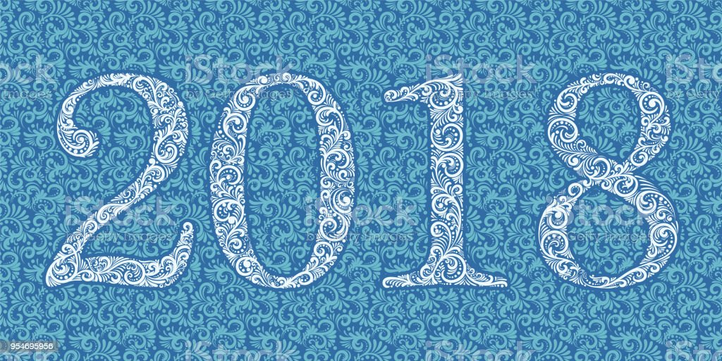 vector happy new year background with 2018 sign constructed with floral elements on floral background