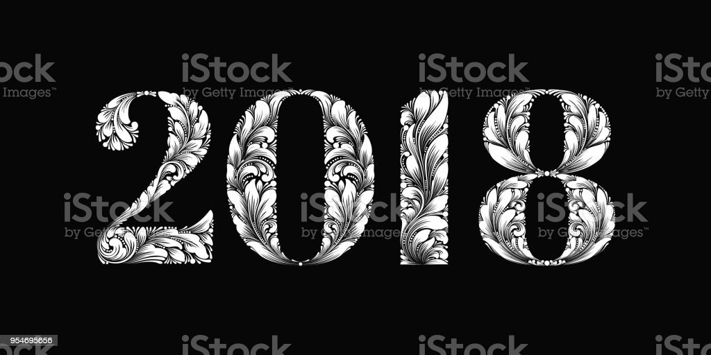 vector happy new year background with 2018 sign constructed with floral ornament new year design