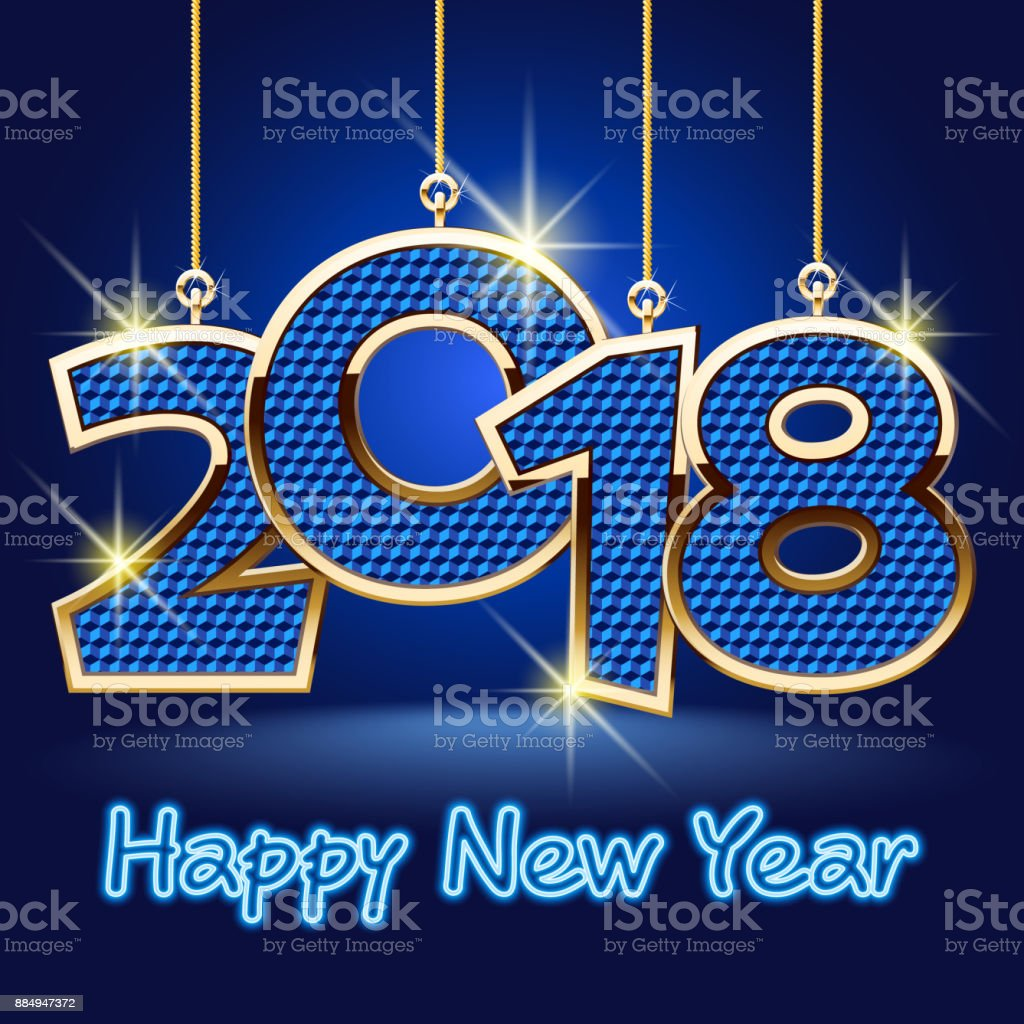 Vector Happy New Year Greeting Card with Blue shiny Toys vector art illustration