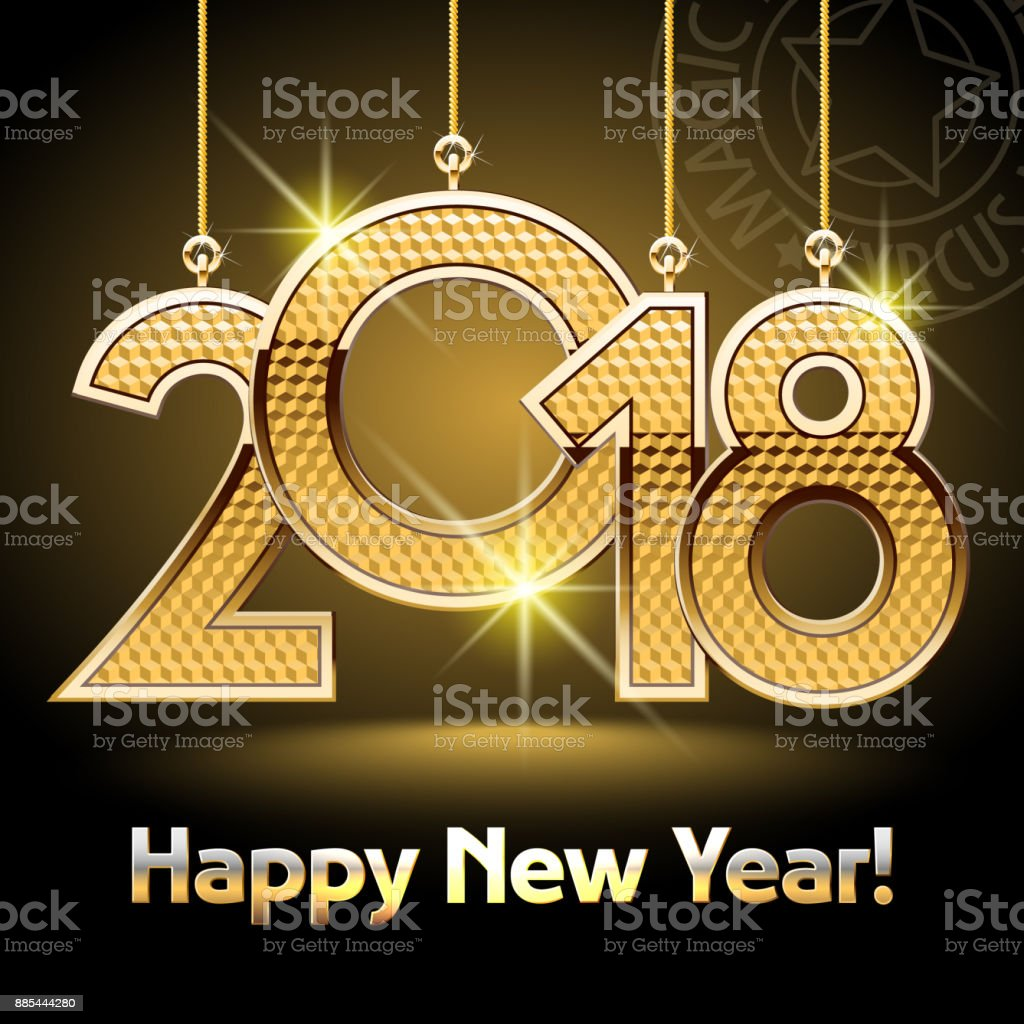 Vector Happy New Year Greeting Card with Golden shine Toys 2018 vector art illustration