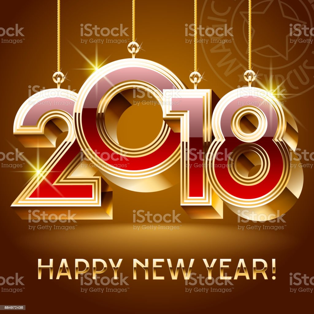 Vector happy new year greeting card with golden toys 2018 stock vector happy new year greeting card with golden toys 2018 royalty free vector happy new kristyandbryce Gallery
