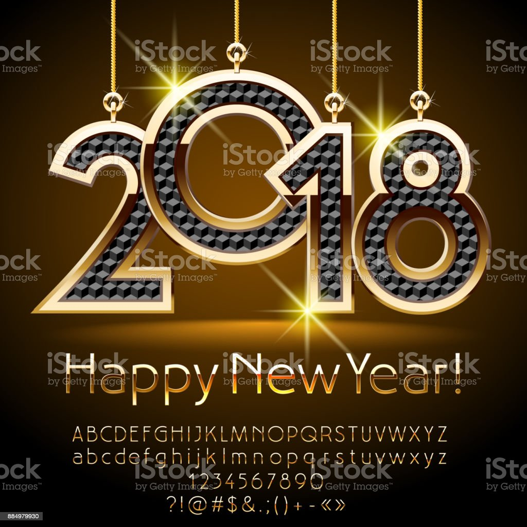 Vector Happy New Year Greeting Card With Royal Toys 2018 Stock