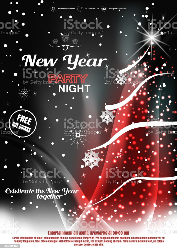 vector happy new year night party invitation poster on the dark gray and red gradient background