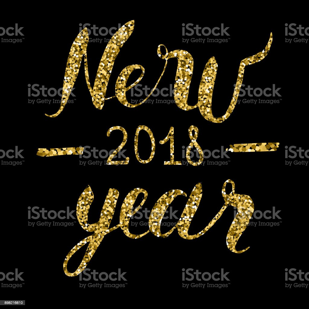 Vector Happy New Year Text With Glitter Elements Shine Hand Drawn ...