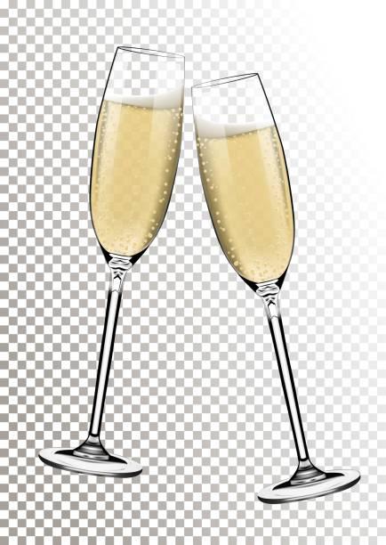 ilustrações, clipart, desenhos animados e ícones de vetores feliz ano novo com brindando com taças de champanhe em fundo transparente no estilo realista. cartão ou convite para festa com ilustração brilhante dourado. - brinde
