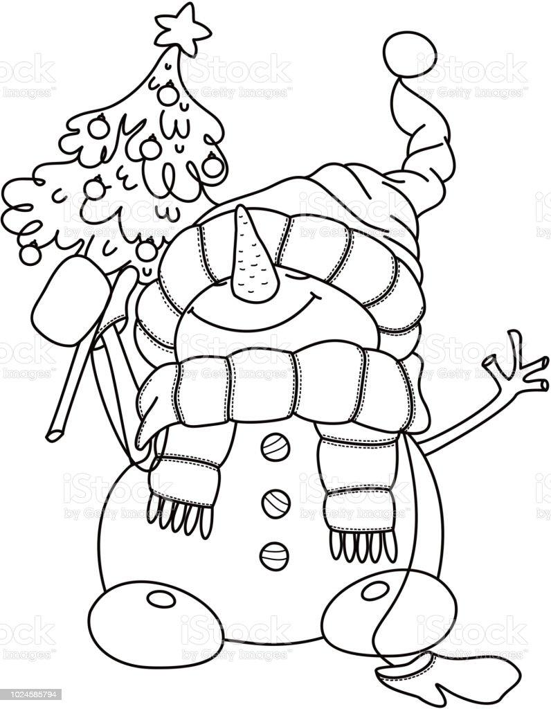 Vector Happy Snowman Cartoon Holding Christmas Tree Black Silhouette