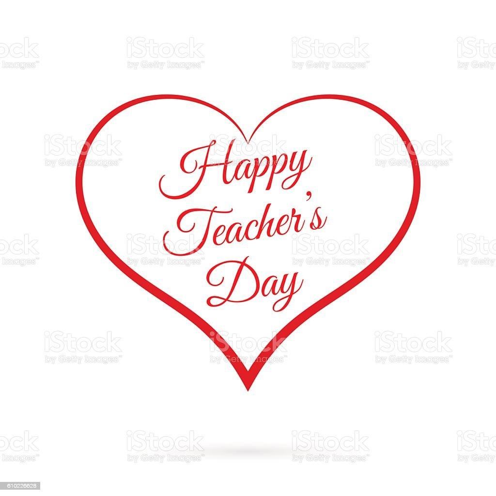 Vector Happy Teacher S Day Inside Red Heart Stock Vektor Art Und
