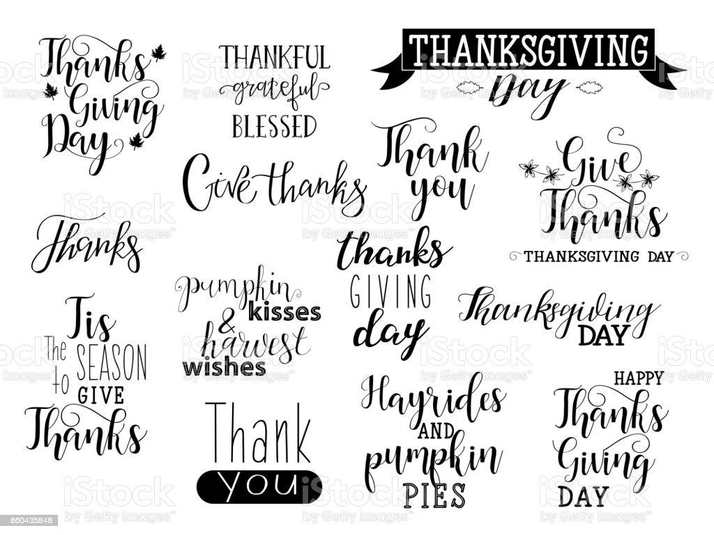 Vektor-Happy Thanksgiving Day Schriftzug Kollektion. Handgezeichneten Typografie. – Vektorgrafik