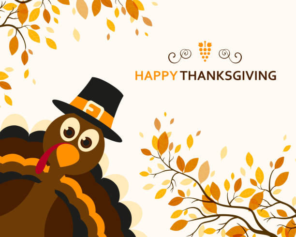 ilustraciones, imágenes clip art, dibujos animados e iconos de stock de vector happy thanksgiving diseño - thanksgiving turkey