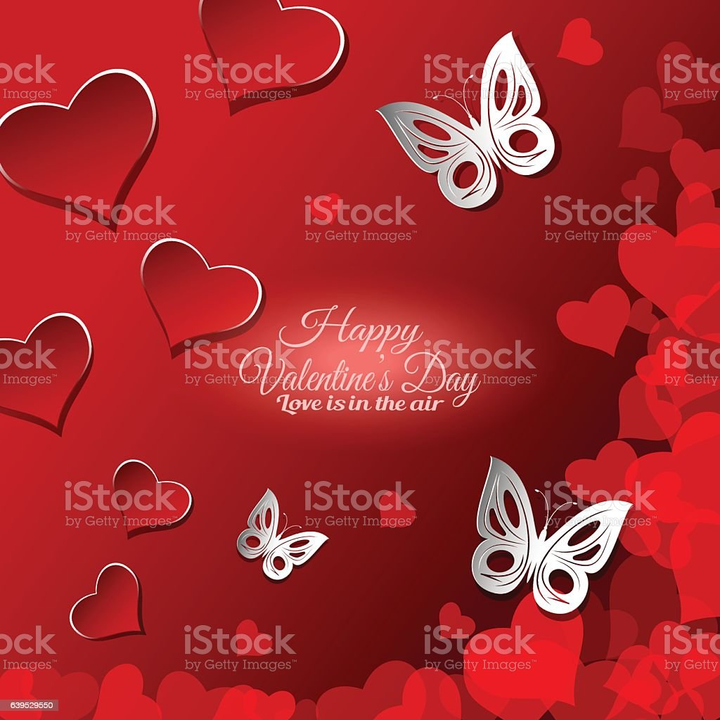 Vector Happy Valentines Day Gradient Background With Cutout