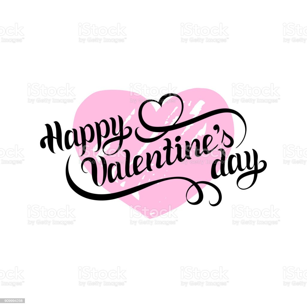 Vector Happy Valentines Day Hand Lettering Festive Calligraphy On