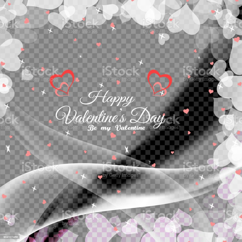 Vector Happy Valentines Day Poster With Transparent Background Heart