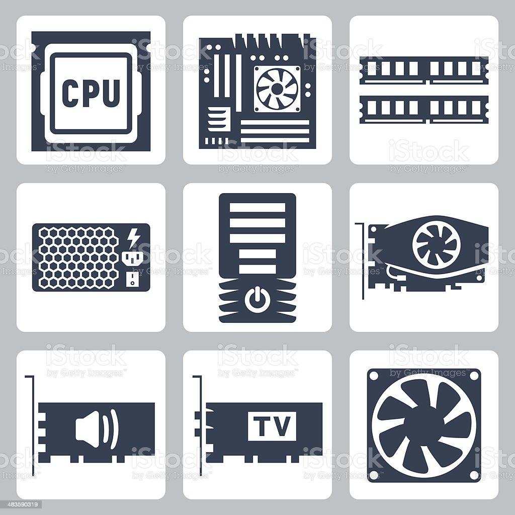 Vector hardware icons set vector art illustration
