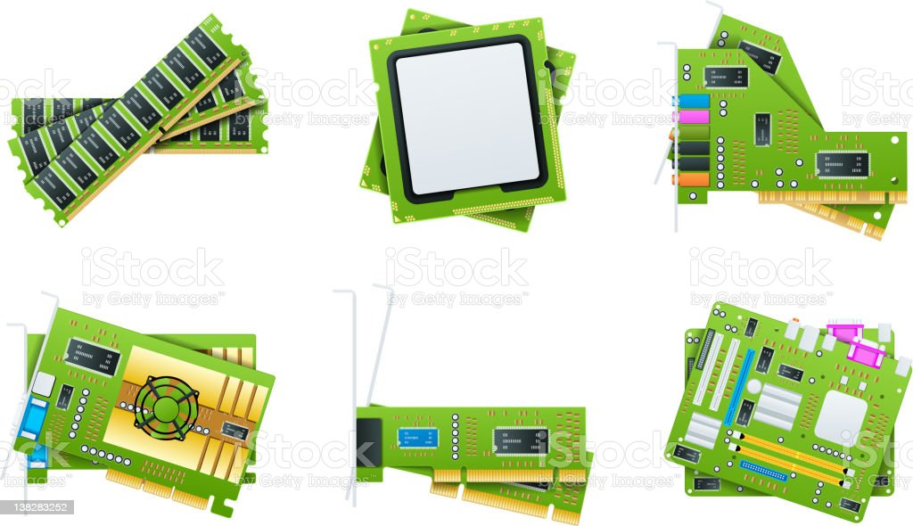 Vector hardware icons vector art illustration