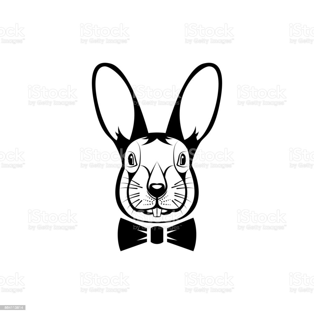 Vector Hare Head Face For Retro Hipster Logos Emblems Badges