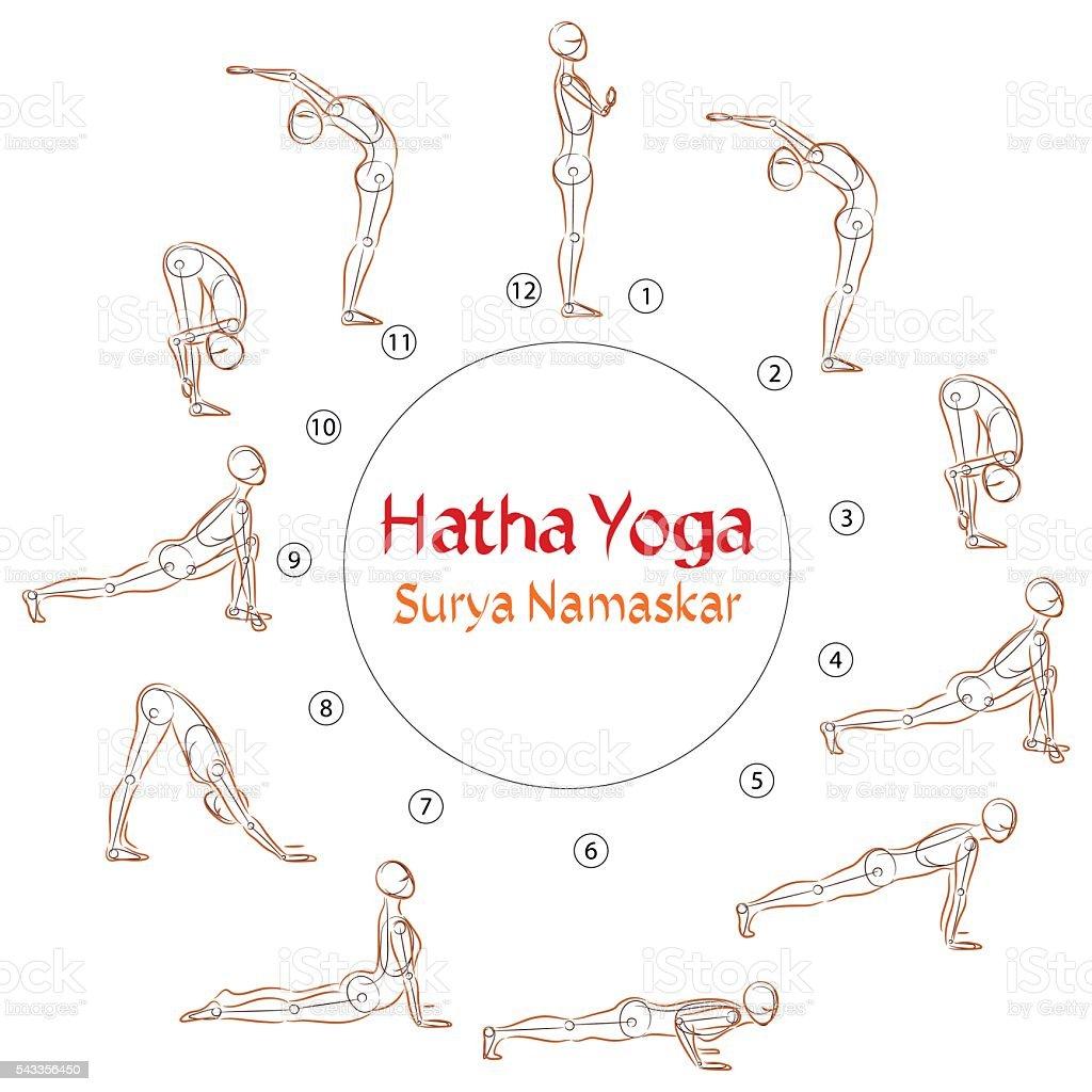 Vector Hatha Yoga Surya Namaskar Asanas Stock Vektor Art Und Mehr Bilder Von Aktiver Lebensstil Istock