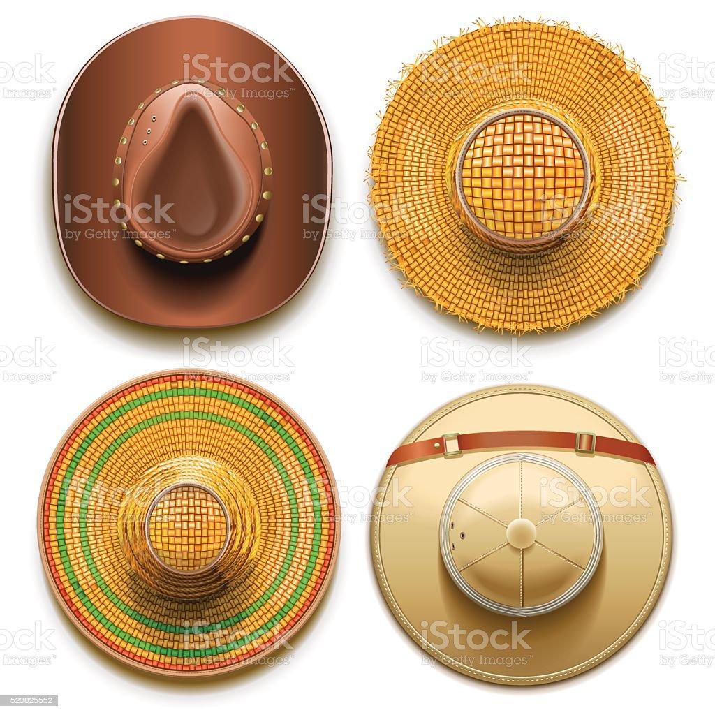 Vector Hats Set vector art illustration