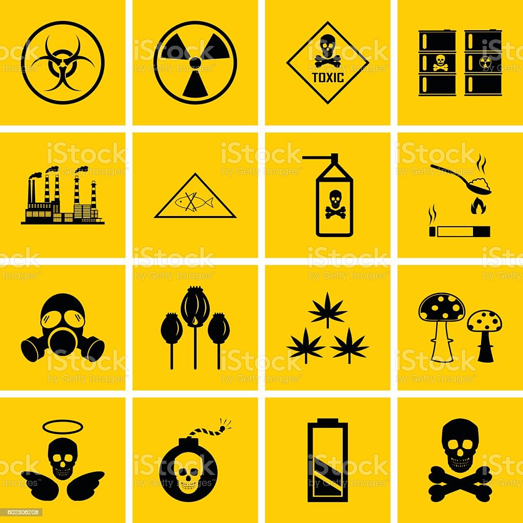 Vector hazard and danger icons set vector art illustration