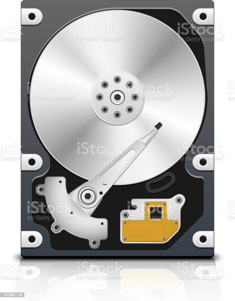Vector HDD, front view vector art illustration