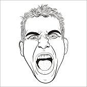 vector head of a screaming  young men.