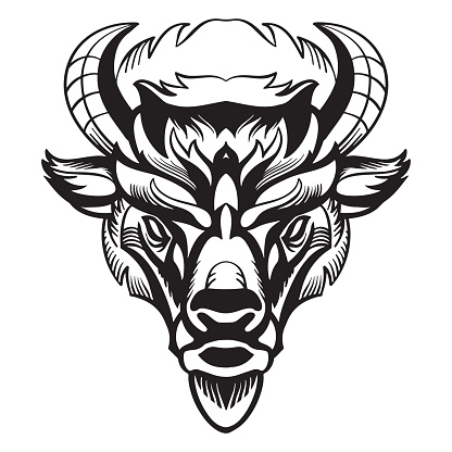 Vector head of mascot bison isolated on white