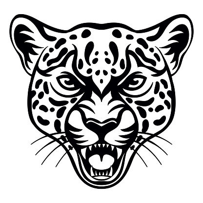 Vector head of mascot leopard isolated on white