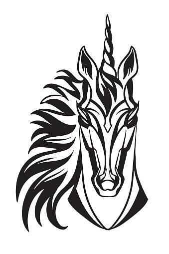 Vector head of mascot unicorn isolated on white