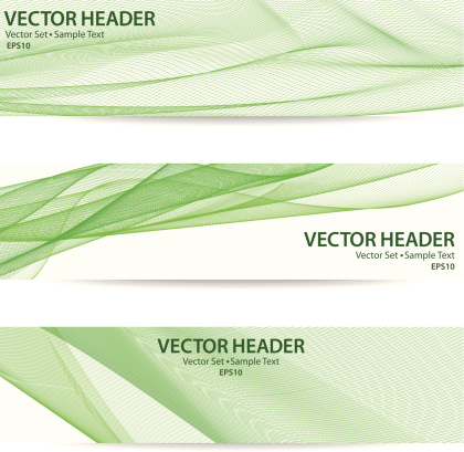 Vector header set with sample text in green