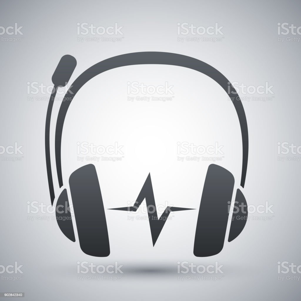 Vector headphones with microphone and sound wave icon vector art illustration