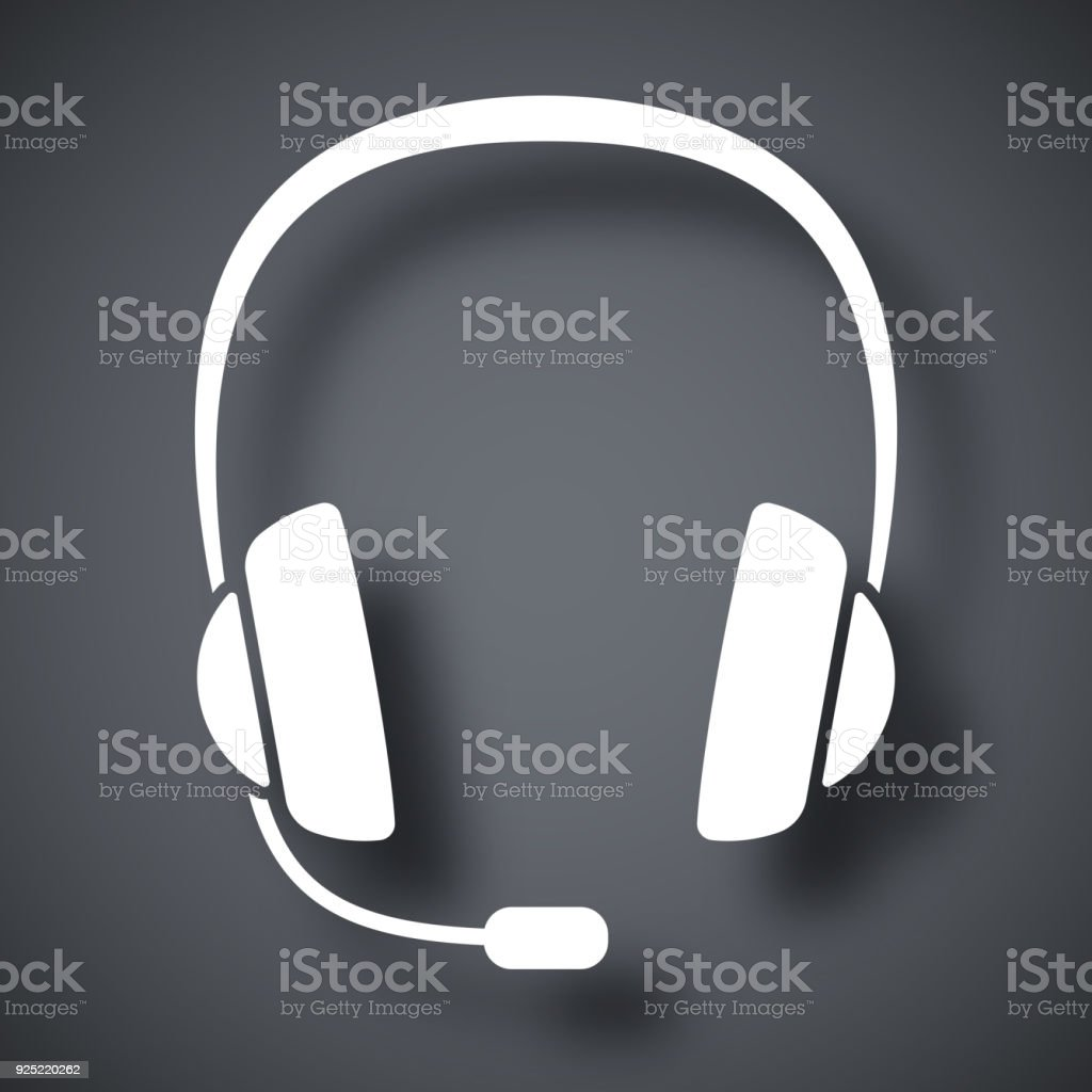 Vector headphones with microphone icon vector art illustration