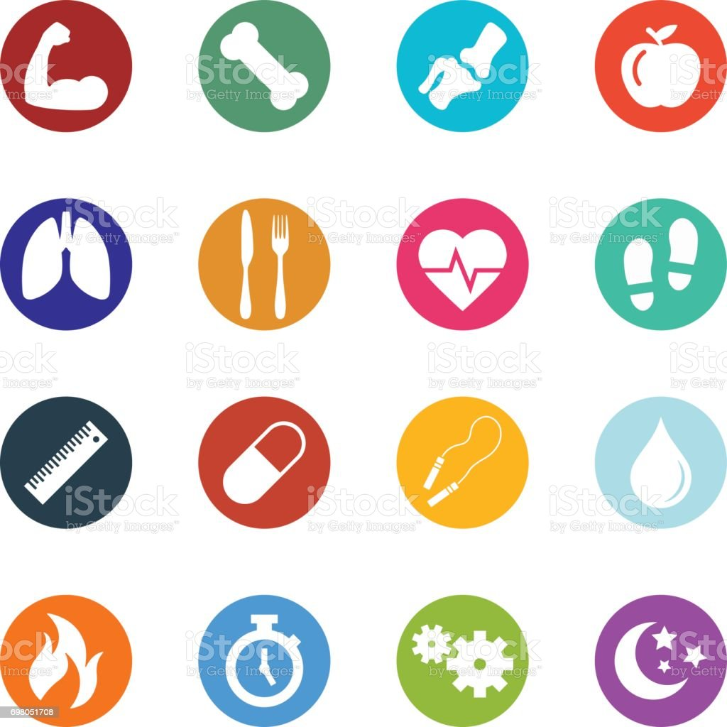 vector health and fitness icon collection featuring