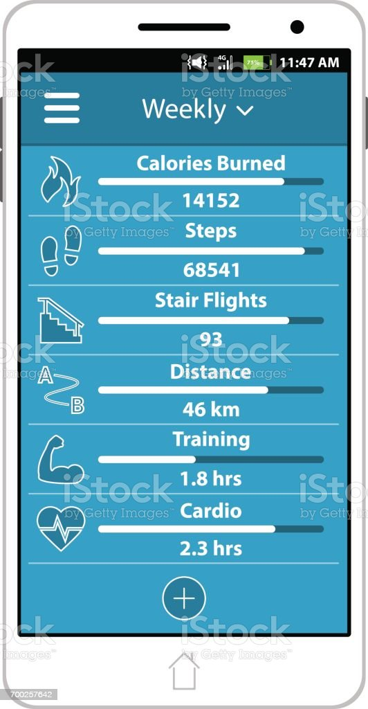Vector Health And Fitness Smart Phone Application Featuring Six Trackers (Calories Burned, Steps, Stair Flights, Distance, Training, And Cardio). vector art illustration