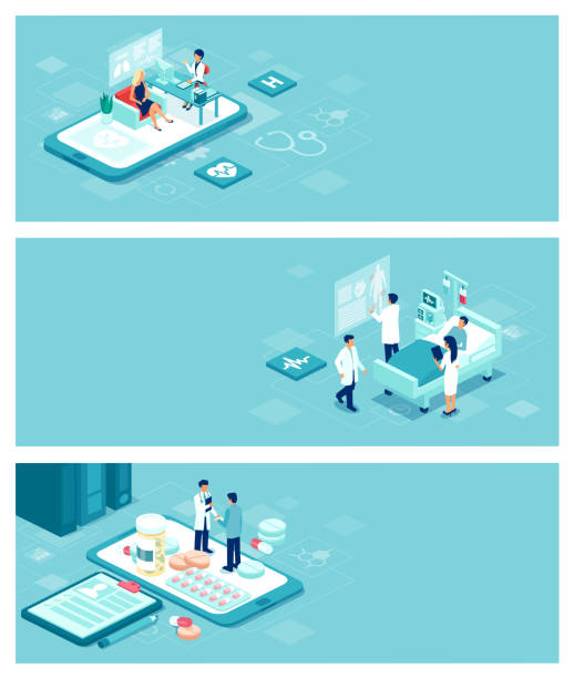 vector healthcare, doctors and patient care banner concept with people and objects Isometric vector healthcare, doctors and patient care banner concept with people and objects pharmacist stock illustrations