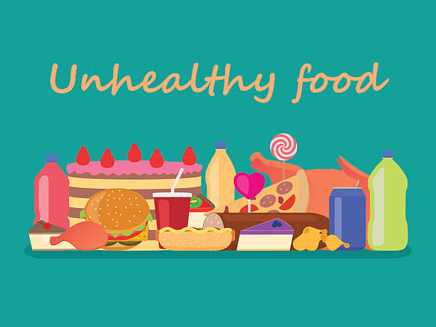 Vector heap colorful harmful unhealthy fast food Vector illustration background unhealthy food. Set junk nutrition. Harmful fast food for health. Flat style. Large collection of fatty unhealthy snacks. deleterious stock illustrations