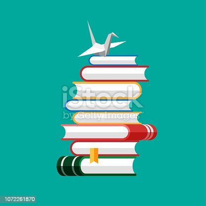 Set of book icons in flat style isolated on blue background. Vector heap of books with paper crane on a top. Stack of literature and documents. Publication, study, learning concept.