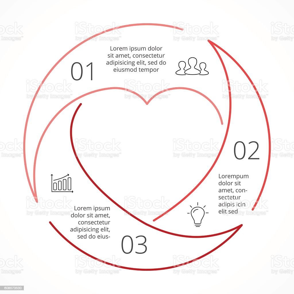 Vector Heart Circle Linear Infographic Template For Love Cycle