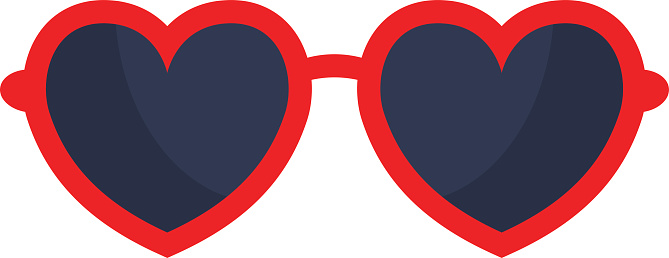 Vector heart glasses isolated on white background