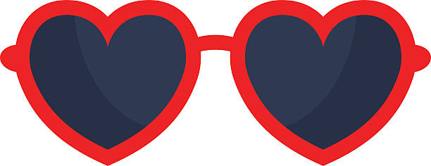vector heart glasses isolated on white background - sunglasses stock illustrations, clip art, cartoons, & icons