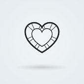 Vector Heart Icon. Single Object. Symbol for Interface.