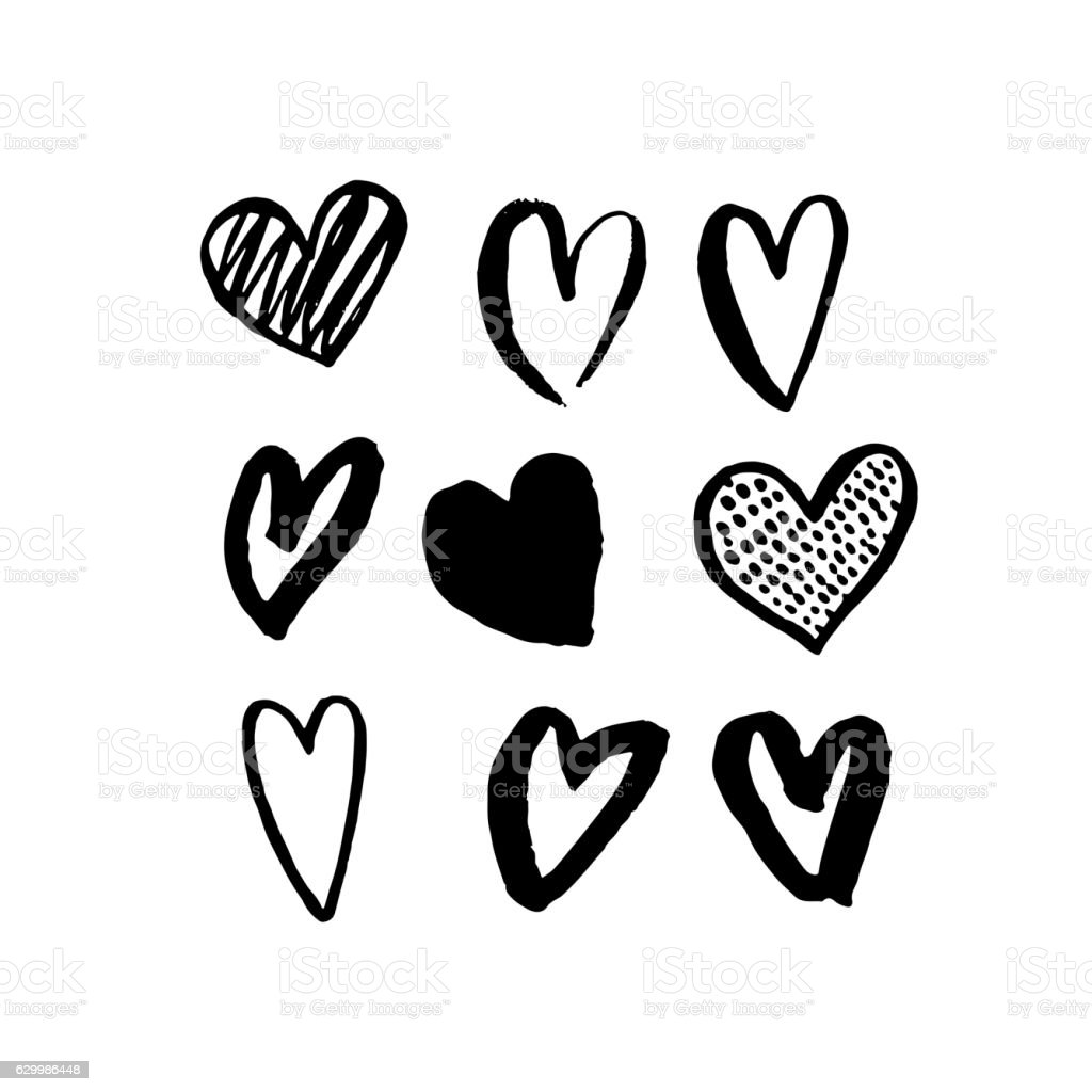 Vector Heart Icons Hand Drawn Art Design For Valentine Day Stock