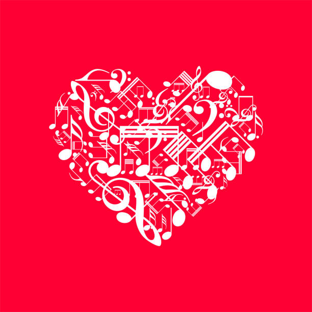 Vector heart made from music notes, Happy Vallentines day background with heart, love music background vector art illustration