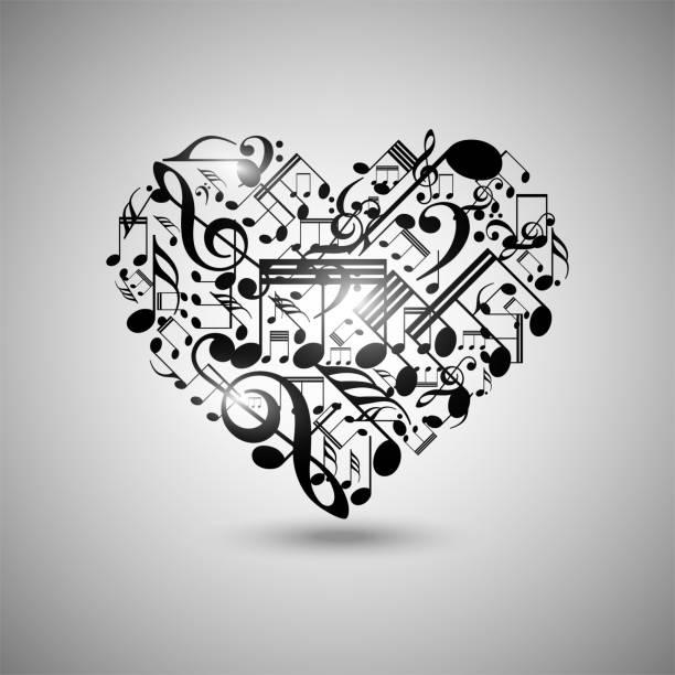 Vector heart made from music notes, musical heart vector art illustration