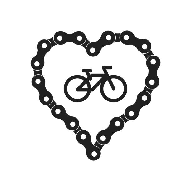 Vector Heart Made of Bike or Bicycle Chain. Black Heart Silhouette Background plus Bicycle Sample Icon Vector Heart Made of Bike or Bicycle Chain. Flat Monochrome Bike Chain. Black Heart Silhouette plus Bicycle Sample Icon. bicycle chain stock illustrations