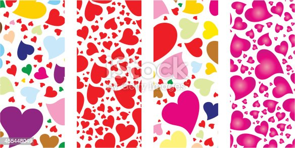 Vector Heart shape banner set