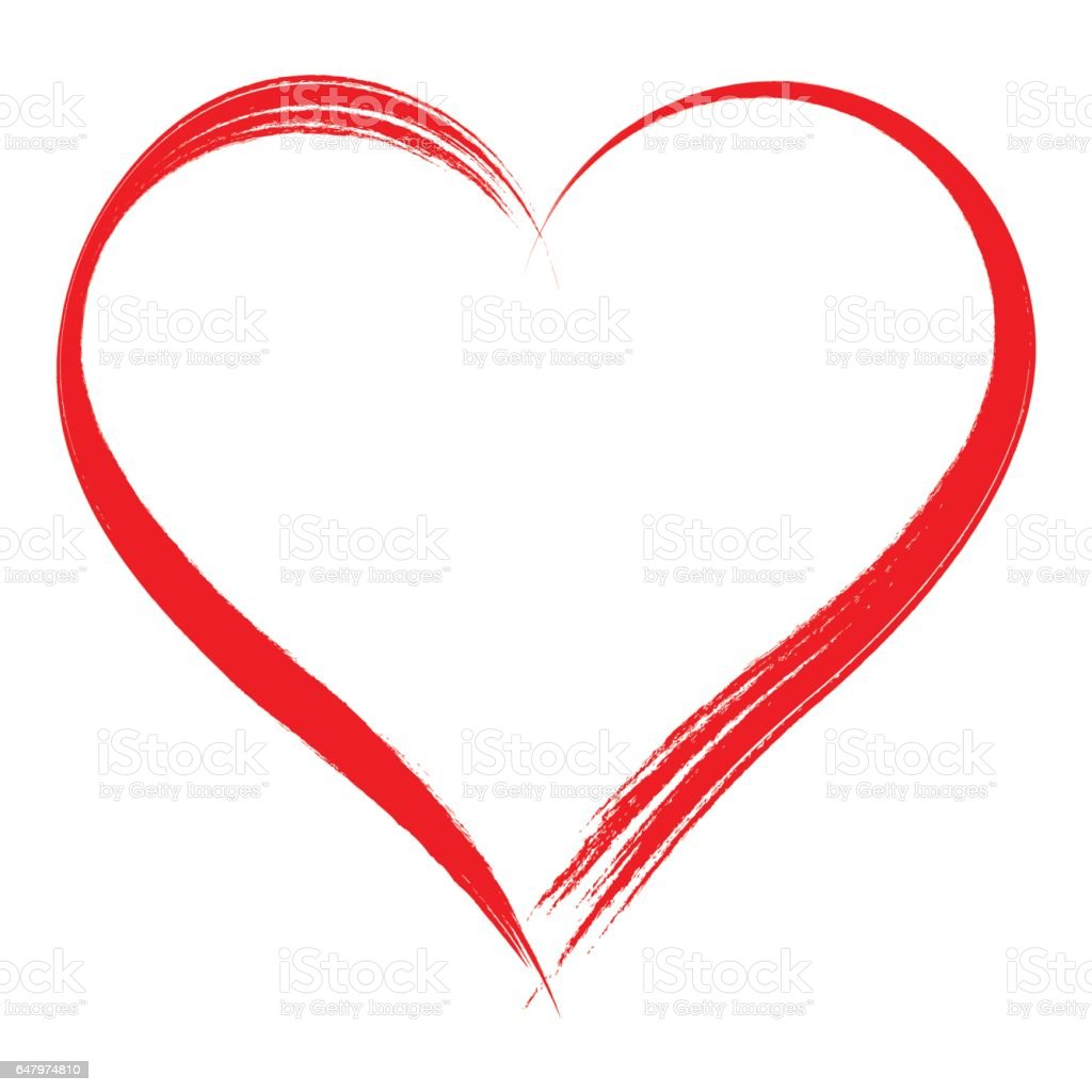 vector heart shape frame with brush painting isolated on white rh istockphoto com free vector heart icon free vector heart download