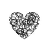 Vector Heart Shape, Scribble Circles Texture, Doodle Illustration, Black Drawing Isolated.